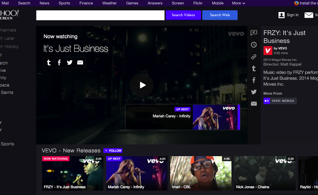 Full Music Video Library now on Vevo and Yahoo! Screen | FRZY